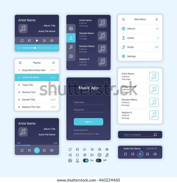 Audio Player User Interface Concept Vector Stock Vector
