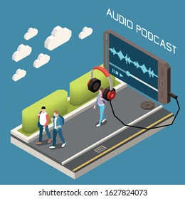 Audio podcast isometric background with  headphones connected to smartphone with  app downloading training audio files vector illustration
