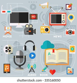 Audio production and podcast, e-ibrary and distance learning, video production and motion graphic, news and reports concept