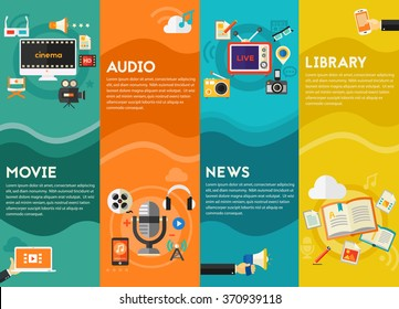Audio production and podcast, e-ibrary and distance learning, video production and motion graphic, news and reports concept. Vertical Banners