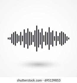 Audio signal vector icon. Sound icon. Music symbol. Equalizer, frequency graphic icon. Minimalistic Illustration. Sound waves logo design. Music pulse signal