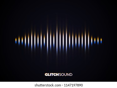Audio or sound wave with music volume peaks and color glitch effect on blurred line vibrating waveform