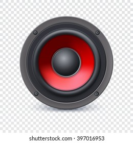 Audio speaker with the red diffuser on transparent background, vector illustration for your presentation, posters, cover and other design
