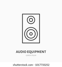 Audio speakers flat line icon. Music equipment sign. Subwoofer logo for event supplies store.