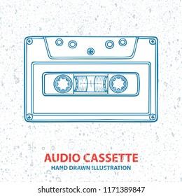 Audio tape cassette. Hand drawn vintage cassette illustration. Tape cassette sketch drawing. Retro music concept.