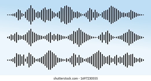 Audio technology, music sound waves vector icon. Black waves as equalizer.