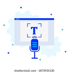 Audio transcription icon. Process of converting speech into text using AI technologies. Automatic speech recognition. Speech-to-Text. Vector concept illustration.