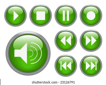 audio/ video buttons - vector image