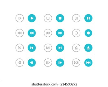 Audio and video control buttons set in flat and line style