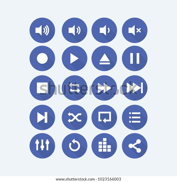 Audio Video control icons.Media control buttons