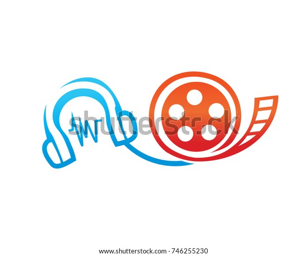 audio to video converter symbol, headphone with videotape film, icon design, isolated on white background