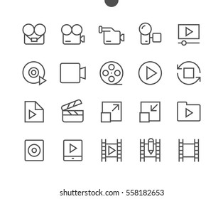 Audio Video Pixel Perfect Well-crafted Vector Thin Line Icons 48x48 Ready for 24x24 Grid for Web Graphics and Apps with Editable Stroke. Simple Minimal Pictogram Part 4-5
