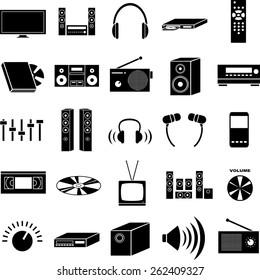 audio and video symbols set