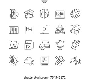 Audio Video Well-crafted Pixel Perfect Vector Thin Line Icons 30 2x Grid for Web Graphics and Apps. Simple Minimal Pictogram