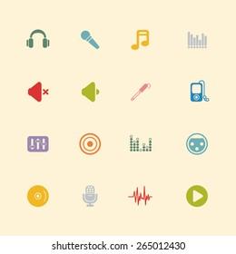 Audio vintage colour icons