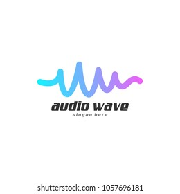 Audio wave Icon concept, Multimedia Music Technology Design Template, Vector Illustration with White Background