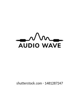Audio Wave Logo Design Template, Cable Jack Logo Concept, Black and White