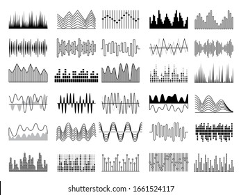 Audio waves. Voice sound music shapes vector abstract collection