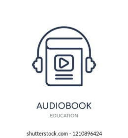 Audiobook icon. Audiobook linear symbol design from Education collection.