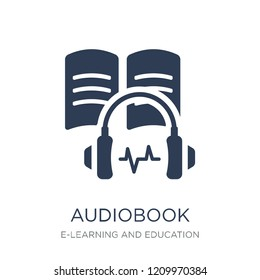 Audiobook icon. Trendy flat vector Audiobook icon on white background from E-learning and education collection, vector illustration can be use for web and mobile, eps10
