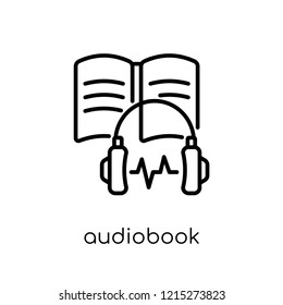 Audiobook icon. Trendy modern flat linear vector Audiobook icon on white background from thin line E-learning and education collection, editable outline stroke vector illustration