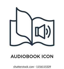Audiobook icon vector isolated on white background, Audiobook transparent sign , thin pictogram or outline symbol design in linear style