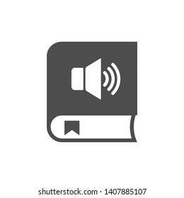 audiobook with loud speaker and bookmark. audiobook vector icon isolated on white background. study and education, self education, listening, audition web icon for mobile and ui design