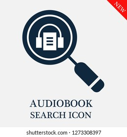 Audiobook search icon. Editable Audiobook search icon for web or mobile.
