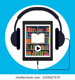 Audiobook, vector illustration. Tablet or smartphone with the app on the screen in the form of an electronic library and headphones.