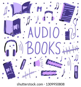 Audiobooks flat elements collection. Set of audio book symbols with lettering. Vector illustration.