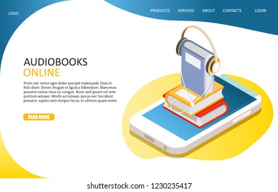 Audiobooks online landing page website template. Vector isometric pile of books with headphones on smartphone screen. Books online concept.