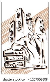 audiophile, man with hi-fi audio system. vector illustration