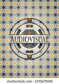 Audiovisual arabic badge. Arabesque decoration.