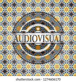 Audiovisual arabic emblem background. Arabesque decoration.