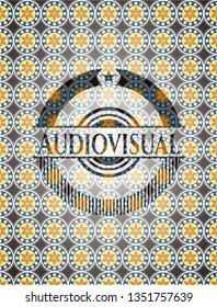 Audiovisual arabic style badge. Arabesque decoration.