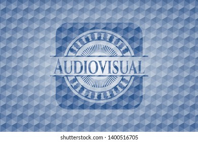 Audiovisual blue hexagon emblem. Vector Illustration. Detailed.