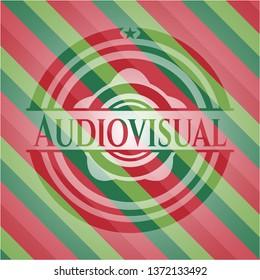 Audiovisual christmas badge background.