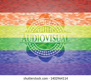 Audiovisual emblem on mosaic background with the colors of the LGBT flag