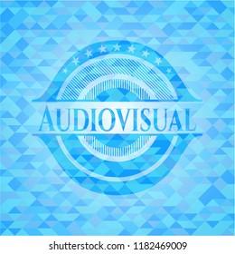 Audiovisual light blue emblem with triangle mosaic background