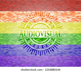 Audiovisual on mosaic background with the colors of the LGBT flag