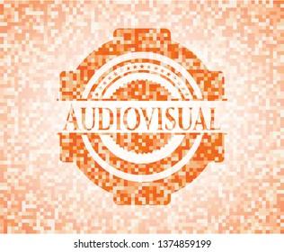 Audiovisual orange mosaic emblem with background