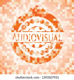Audiovisual orange tile background illustration. Square geometric mosaic seamless pattern with emblem inside.