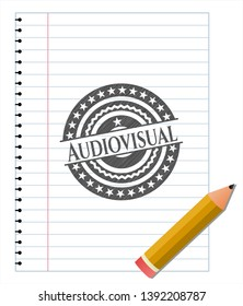 Audiovisual with pencil strokes. Vector Illustration. Detailed.