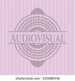 Audiovisual pink emblem. Vintage.