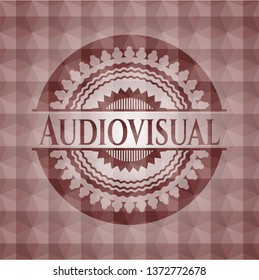 Audiovisual red seamless badge with geometric background.