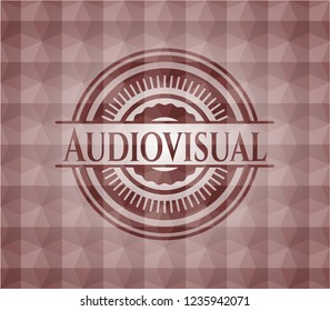 Audiovisual red seamless emblem with geometric pattern background.