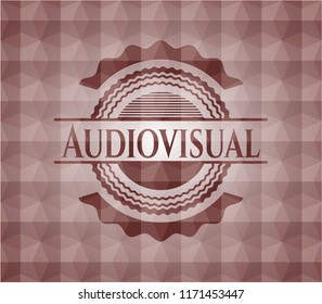 Audiovisual red seamless geometric badge.