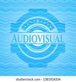Audiovisual water representation emblem background.