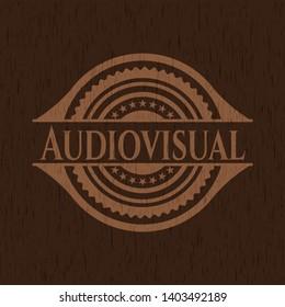 Audiovisual wood emblem. Retro. Vector Illustration.