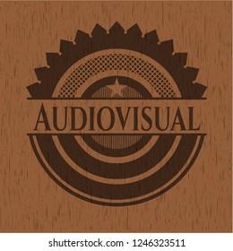 Audiovisual wood icon or emblem